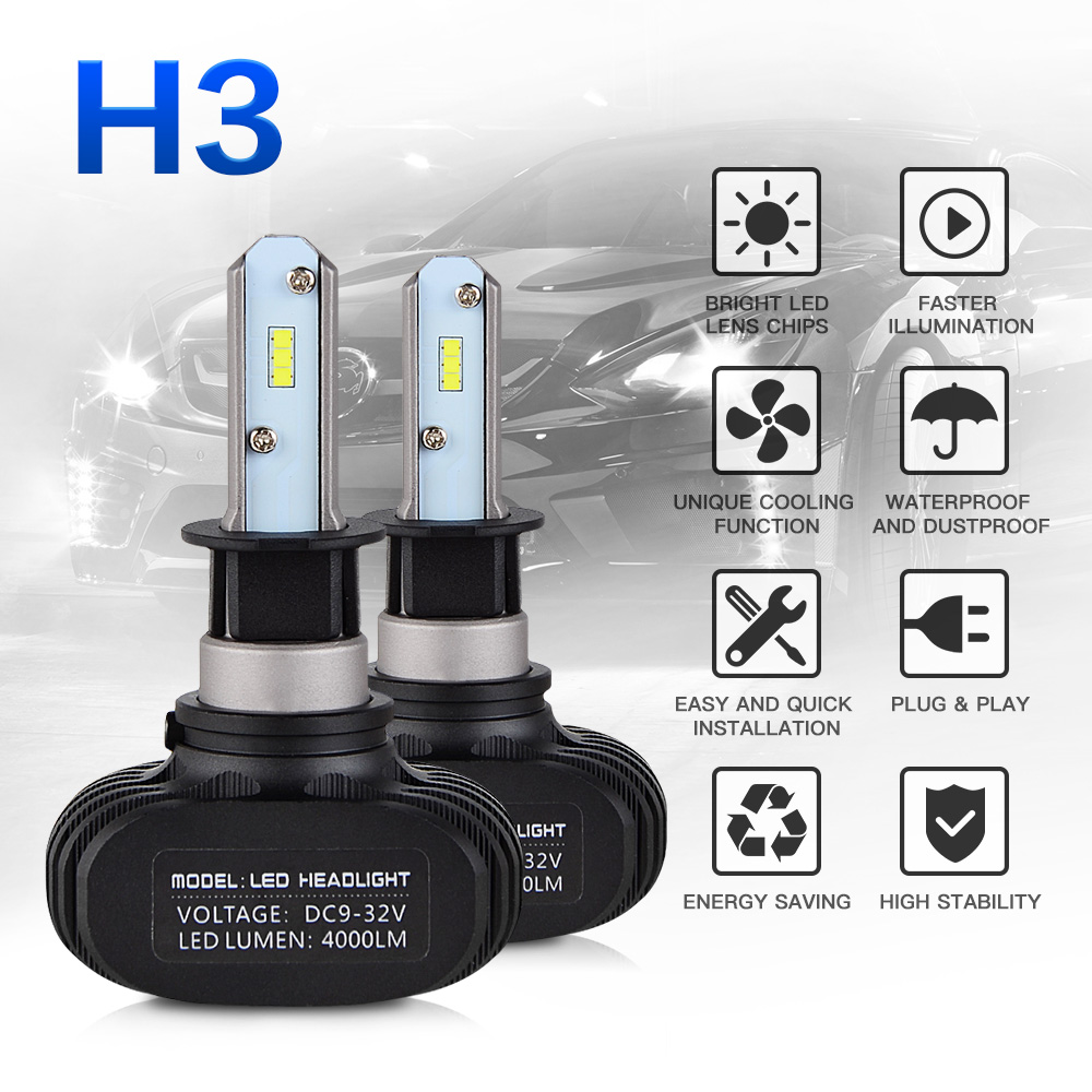 NICECNC H3 Motorcycle Headlight DRL LED Bulb For Polaris ATV UTV Sport P400L Trail Blazer ES 250 330 Scrambler 400 2X4 4X4 96-09