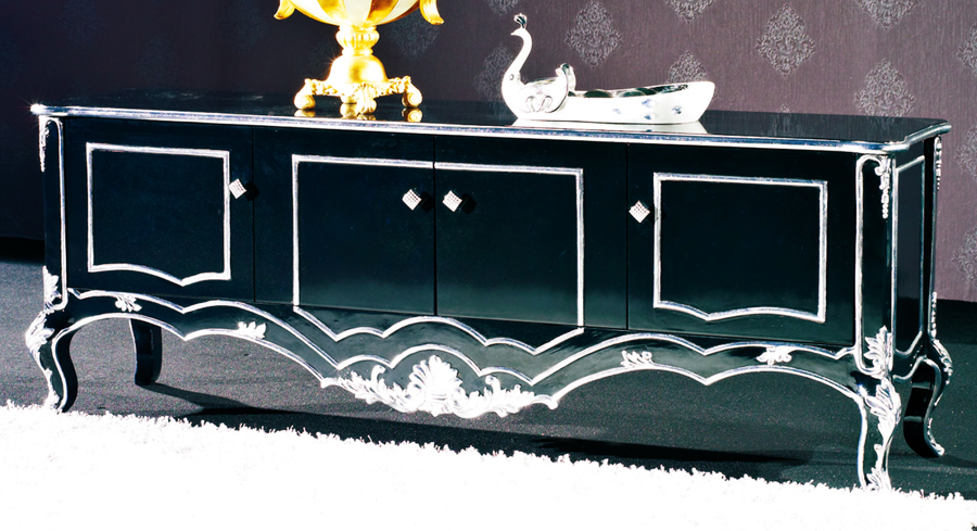 European Style Luxury Imperial Wood Carved Tv Cabinet Silver And