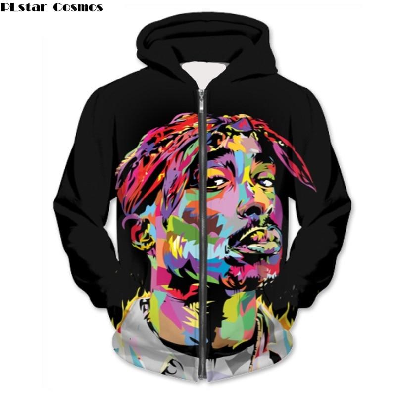 PLstar Cosmos Women/Men 2pac Painting Zipper Hoodies Hip Hop Sweatshirts Unisex Tracksuits Tupac / B.I.G. Streetwear Dropship