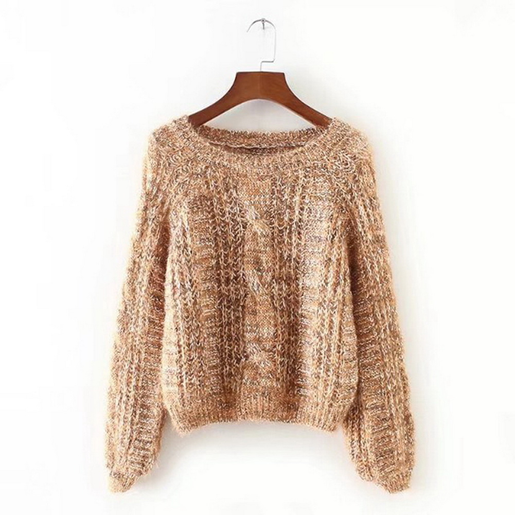 Autumn Winter Casual O-Neck Knitted Pullover Women Puff Sleeve Sweater Loose Jumper