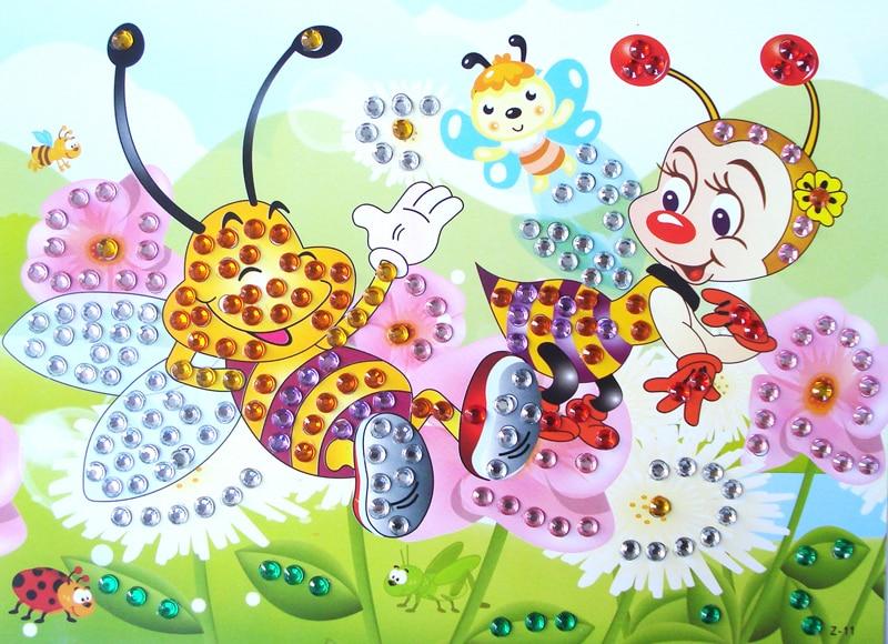4 шт. DIY бриллиантовые наклейки ручной работы приклеиваемые кристаллы картина пазл, игрушки для детей детские наклейки игрушка в подарок gyh