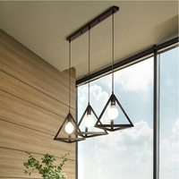 LukLoy Set of 3 Triangle Metal LED Pendant Light Kitchen Lights LED Kitchen Hanging Lamp Ceiling Lamps Living Room Lighting