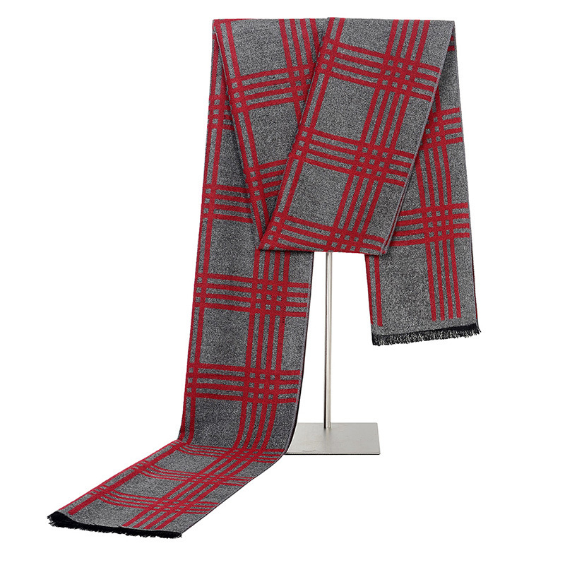 Scarf Thick Muffler Plaid Cashmere Warm Male Long-Size New Men for Blue