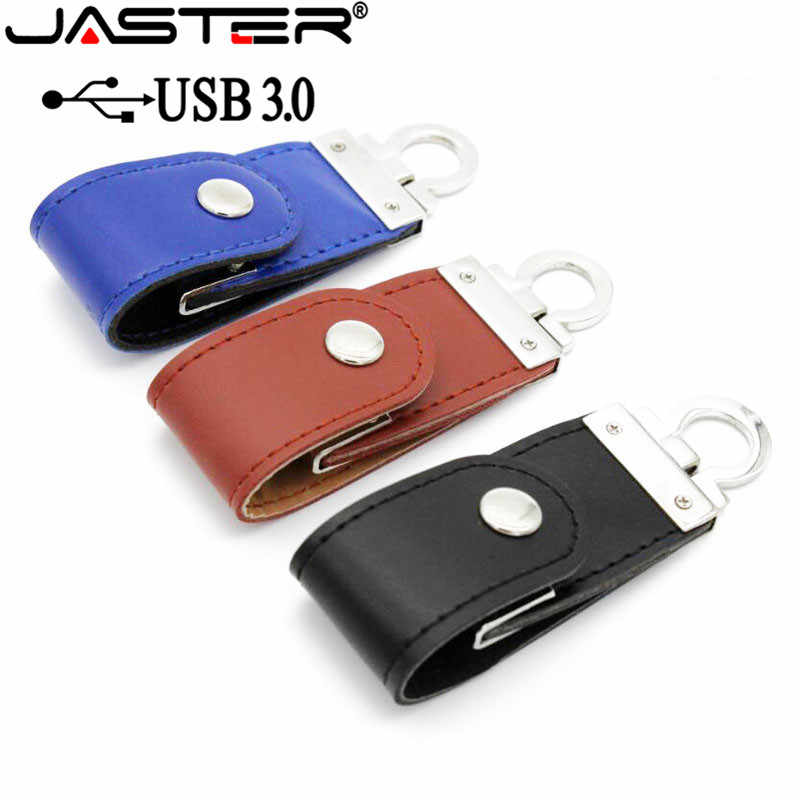 JASTER USB 3.0 moda pele de couro usb flash drive memory stick chaveiro pendriver gb 32 16gb comercial 4gb 64gb presente presentes
