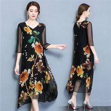 Brand Elegant Floral Printed Dress V-Neck Black Red Yellow High Quality Silk  Long Maxi Dress For Women Fashion Party Vestidos 0dc37f6c9