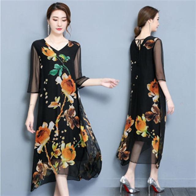 f2653abe5add90 Merk Elegante Bloemen Gedrukt Jurk V-hals Zwart Rood Geel Hoge Kwaliteit  Zijde Lange Maxi