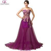 Junoesque Purple Sweetheart Tulle Applique Purple Dress Evening Gown Elegance Prom Dresses Women Long Ball Gown