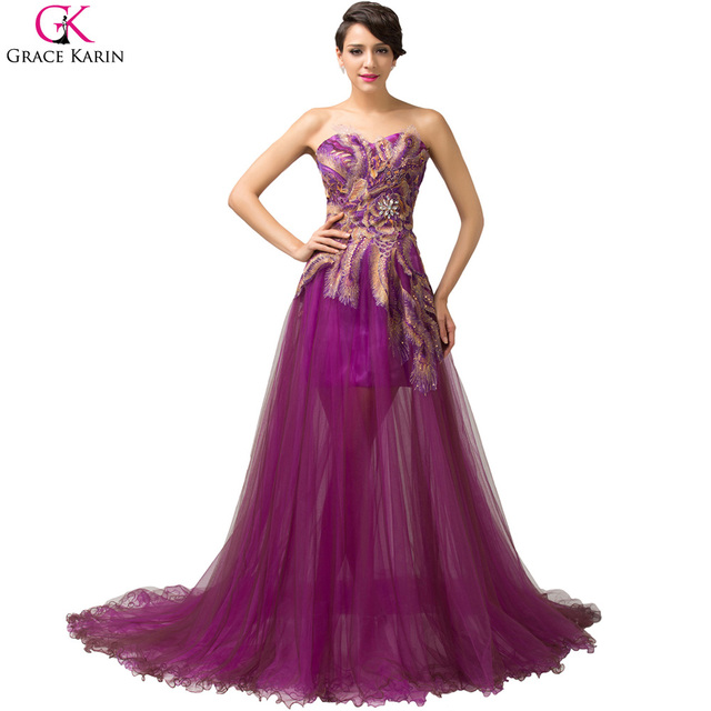 Grace Karin Peacock Evening Dresses Long 2017 Purple Feather Dress Formal  Mermaid Evening Gowns Women Prom Party Dresses 6165 6cb921790336