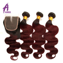 Ombre Burgundy Body Wave Hair Bundles With Lace Closure Brazilian Human Hair Weave Bundles With Closure Alimice Remy HairT1B 99J(China)