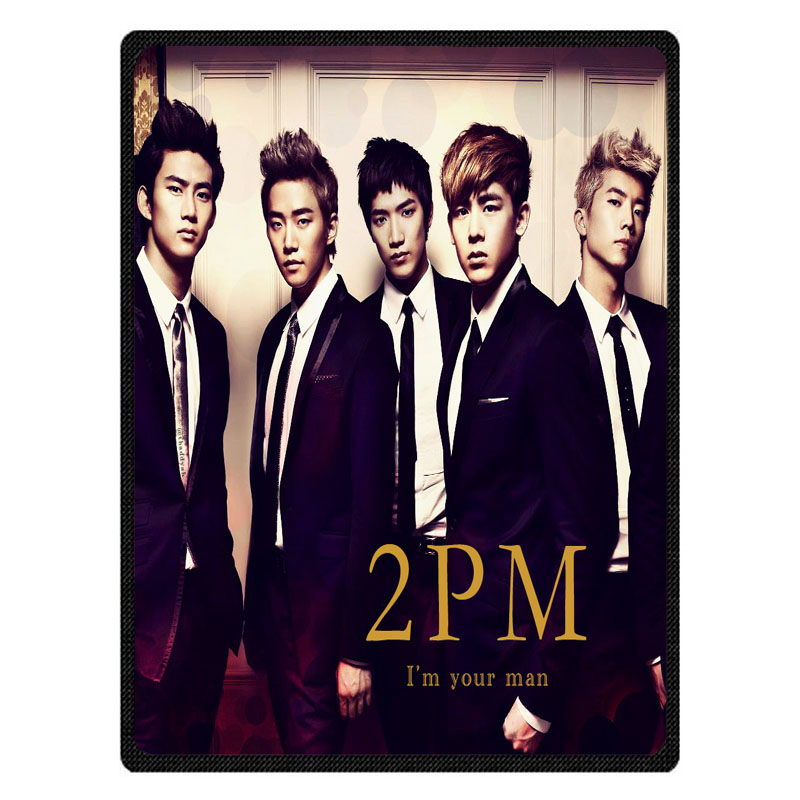 2PM bedspread blanket Super Soft Custom Flannel Blanket to on for the sofa Bed Car Portable