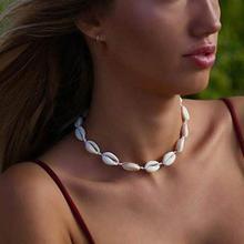 newest boho necklace Women Shell  Necklace Seashell Adjustable Pendant Cord Bib Collar Jewelry 2019 hot summer jewelry gift #6