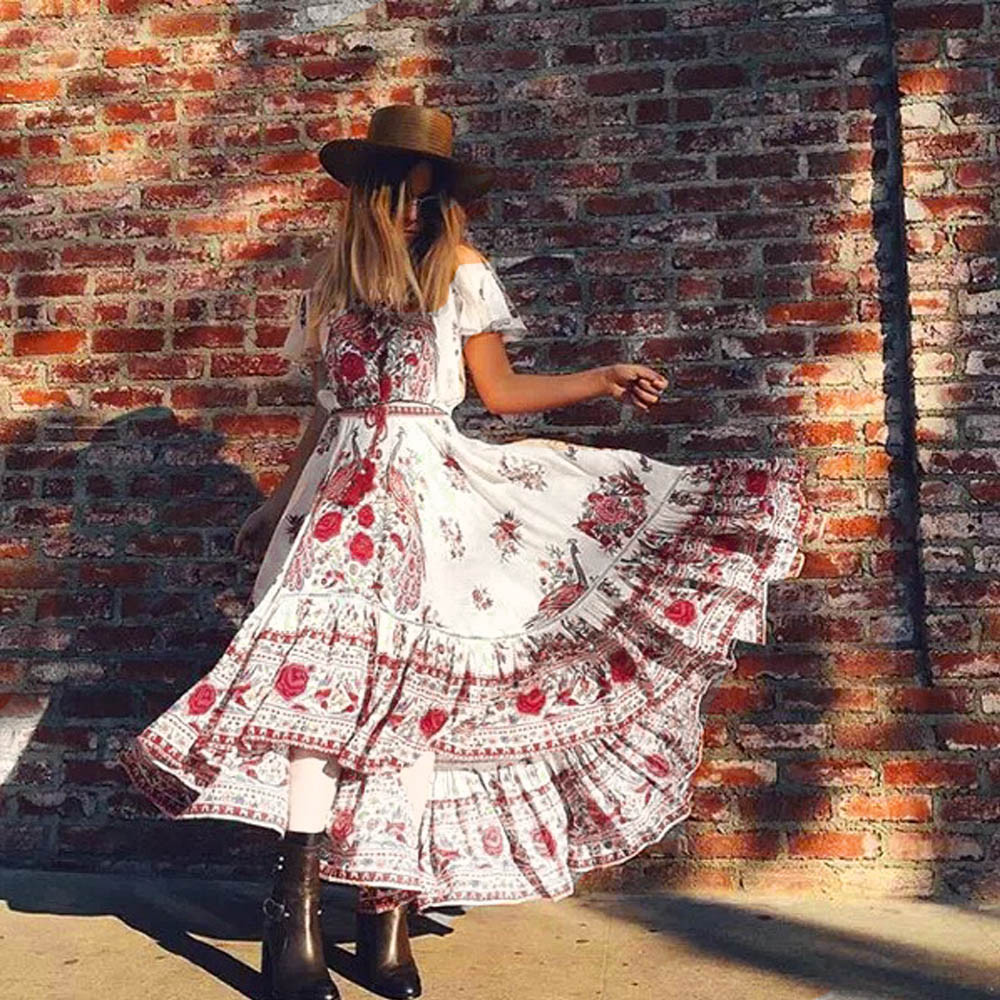 Women's Clothing Able Sexy Dress Women Chiffon V-neck Boho Dress Bohemian Print Summer Long Maxi Dress Beach Dresses Sundressz323 Available In Various Designs And Specifications For Your Selection