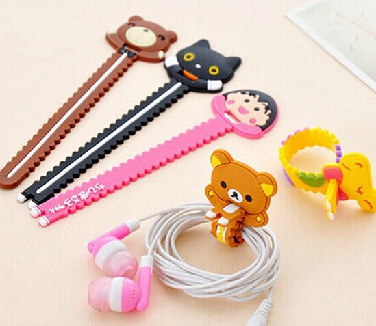 100PCS New Design Cartoon Universal Long Earphone Headset USB Silicone Rubber Cable Bobbin Winder Cable Holder Organizer