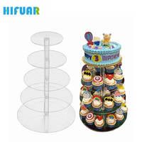 HIFUAR Acrylic Bánh Đứng Vòng Cup Cupcake Chủ Wedding Birthday Giáng Sinh Năm Mới Đảng Decorations Tráng Miệng Display Stands