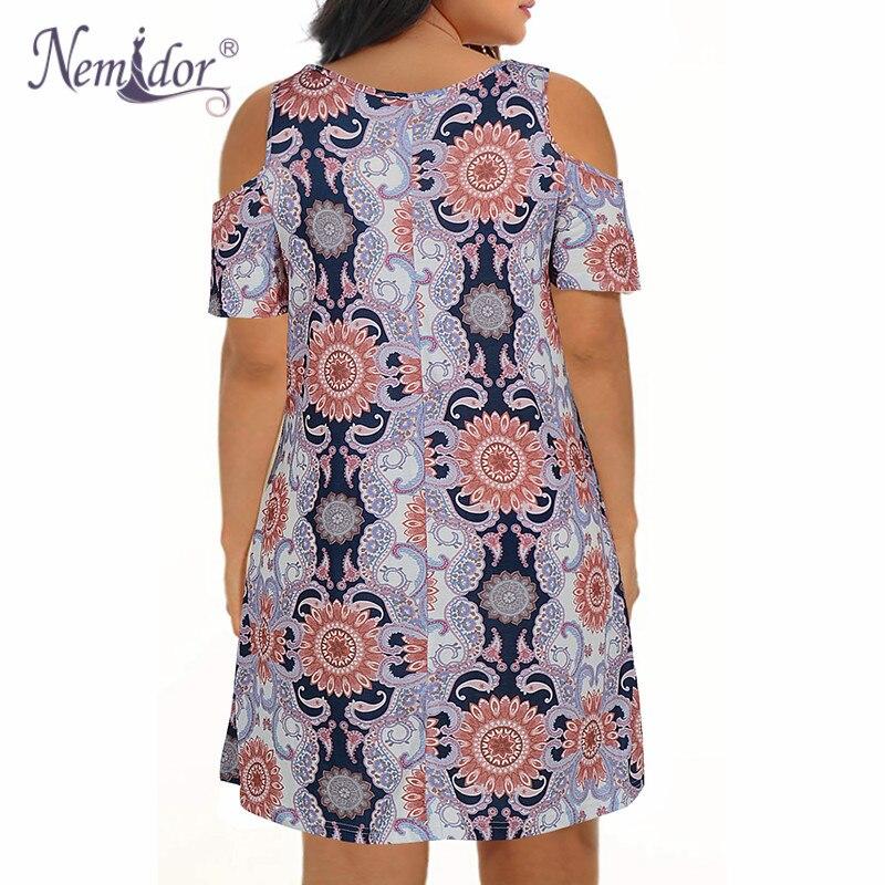 Nemidor Women's Cold Shoulder Plus Size Casual T-Shirt Swing Dress with Pockets (27)