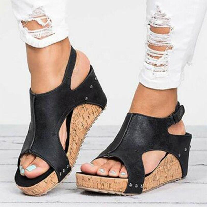 Cómodo buybea brown Mujer Moda Romano Verano Tacón negro Cuña 2018 34 39 A Sandalias De Beige Nuevos Con Gladiador Tamaño Zapatos 5qRxCId