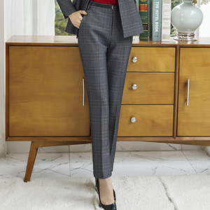 Image 2 - Naviu جديد الموضة النساء سراويل شتوية العمل مكتب الأعمال السيدات حجم كبير السراويل منقوشة ضئيلة