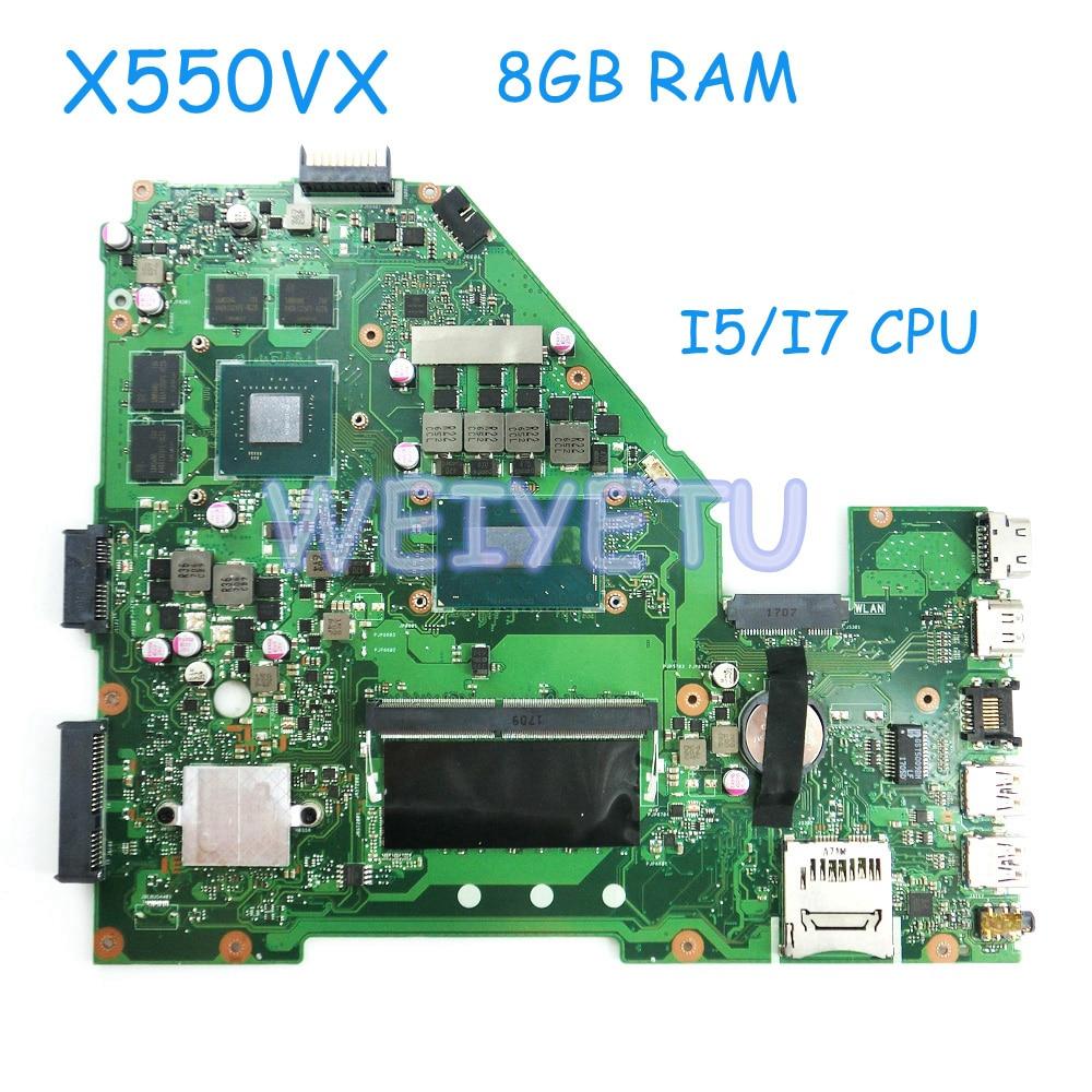 X550VX Avec 8 gb RAM I5/I7 CPU Carte Mère avec GTX950M Graphique Pour ASUS W50VX X550VX X550V D'ordinateur Portable MB. _ 8g/I7/I5 CPU/COMME