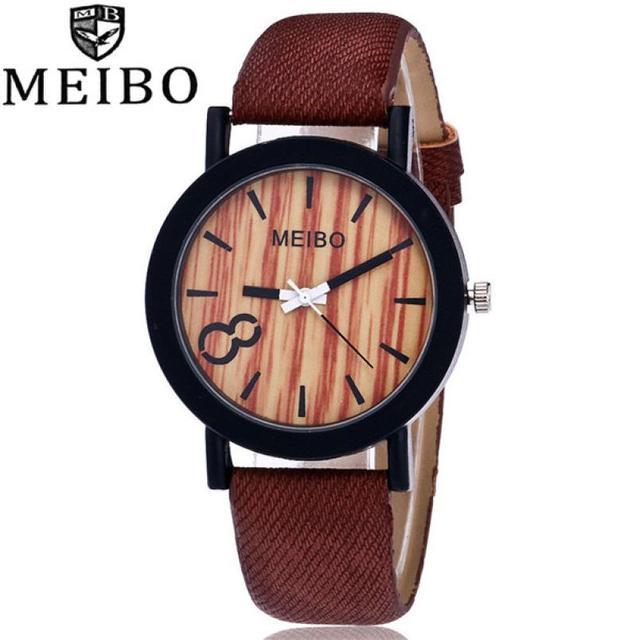 647725c029b MEIBO Modelagem De Madeira Quartz Mens Watch Casual Relógio De Couro Cor De  Madeira  1113