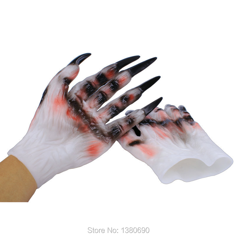 Wolf Paws Claws Gloves Latex Horrific Costume Props For Holloween Party Cosplay
