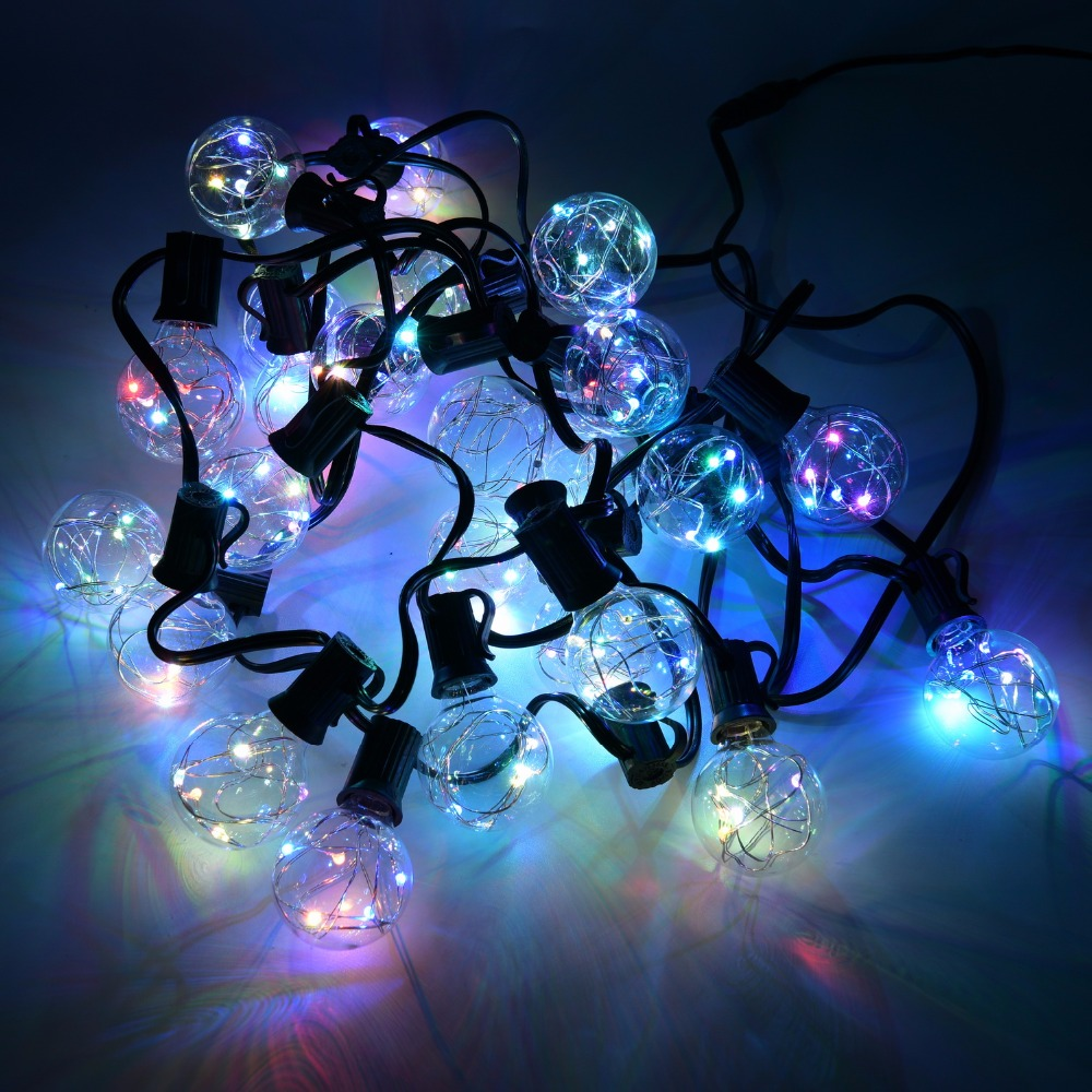 New 25Ft G40 Bulb Globe String Lights With Clear Bulbs Colorful For  Backyard Patio Lights Outdoor