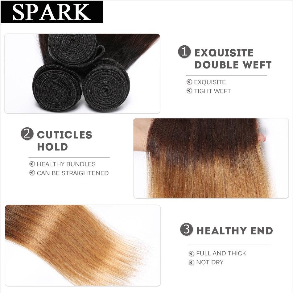 Spark Honey Blond 1/3 / 4pcs Ombre ბრაზილიის - ადამიანის თმის (შავი) - ფოტო 4