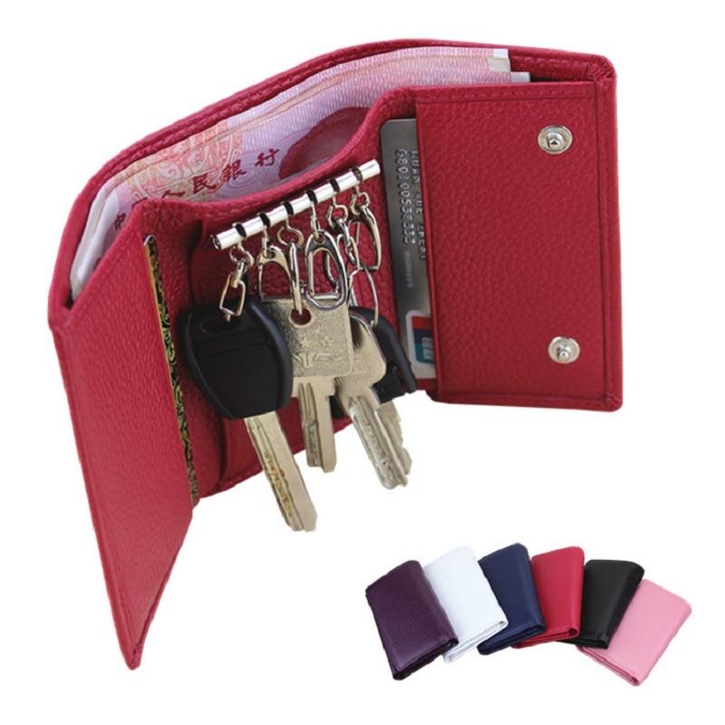 Men's Women Cow Leather Key chain Pouch Bag Wallet Key Holder Key Ring Case