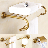 AUSWIND European Classical bathroom accessories soild brass brush carving towel shelf wall mount bathroom hardware set