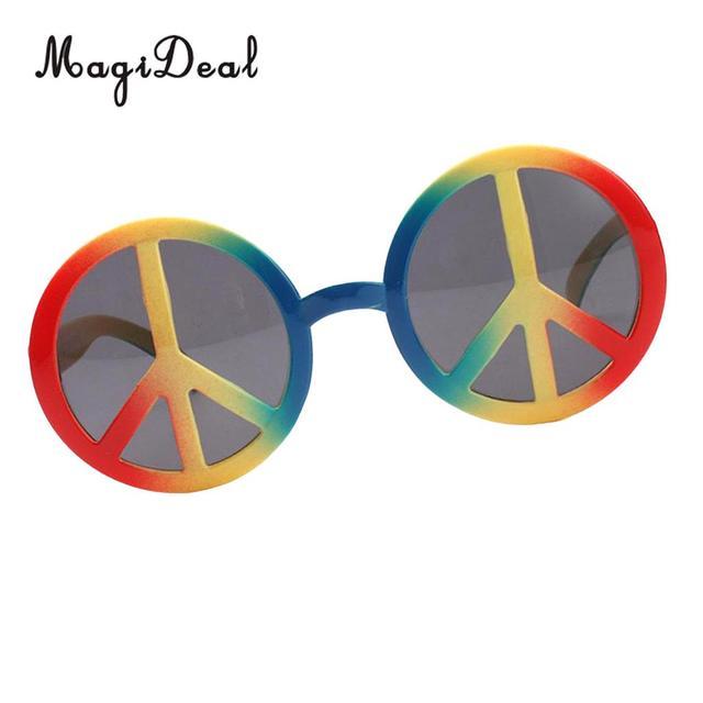 Fashion Rainbow World Peace Sign Sunglasses Costume Eye Glasses