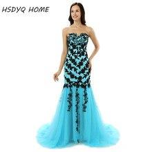 2017 Light Blue Long Prom dresses Pleats Mermaid Black Appliques Evening  dress Party gown bbedb3ac0993