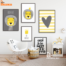 COLORFULBOY Lion Crown Heart Quote Wall Art Canvas Painting Nordic Posters And Prints Animals Pictures Baby Kids Room Decor