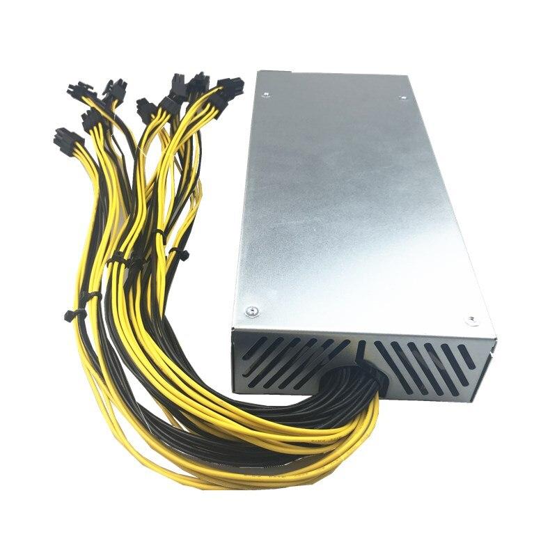1800 W di Estrazione Mineraria di Alimentazione del PC Per ETH Ethereum Rig Antminer Moneta A6/A7/S9/R4/ s7/E9 1800 W PSU 6 pin antminer psu minatore APW3 APW7