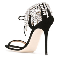 Diamond Chain Tassel Sandals Women 2017 Summer New Fine Suede Peep Toe Heels With Sexy Lace