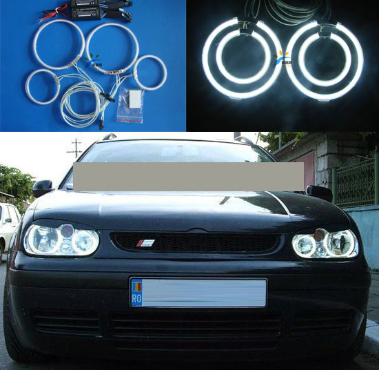 Factory direct sell 7000K CCFL Angel Eyes Kit Warm White Halo Rings FOR Volkswagen VW Golf 4 ccfl halo ring lamp kits hochitech white 6000k ccfl headlight halo angel demon eyes kit angel eyes light for vw volkswagen golf 5 mk5 2003 2009