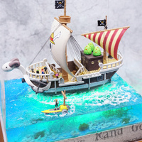 Anime DIY Hand made Beautiful scene & LED One Piece Figures Going Merry Ship Model PVC One Piece Action Figure Luffy Toys model