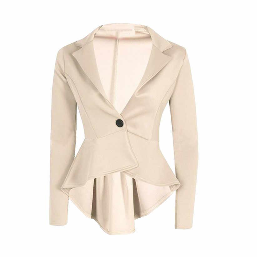 ペプラムブレザー Chamsgend 新デザイン女性ターンダウン襟長袖フリルシングルボタンスリムフォーマルなスーツ #0724