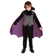 Child Count Vampire Costume with Purple Cape for Boys Halloween Purim Party Carnival Cosplay