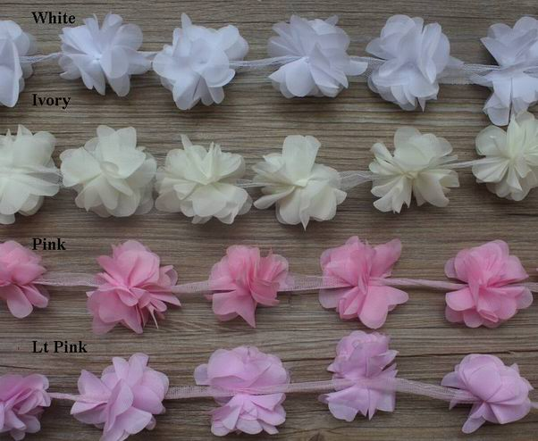 30y 2 5 9 petals chiffon flower trim for headband headwear shoes hat clothes hair accessory