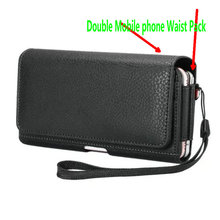 Double Mobile phone Waist Pack, Horizontal PU Leather Pouch Magnetic Snap Holster Case with Belt Clip & Card slot Wrist Rope