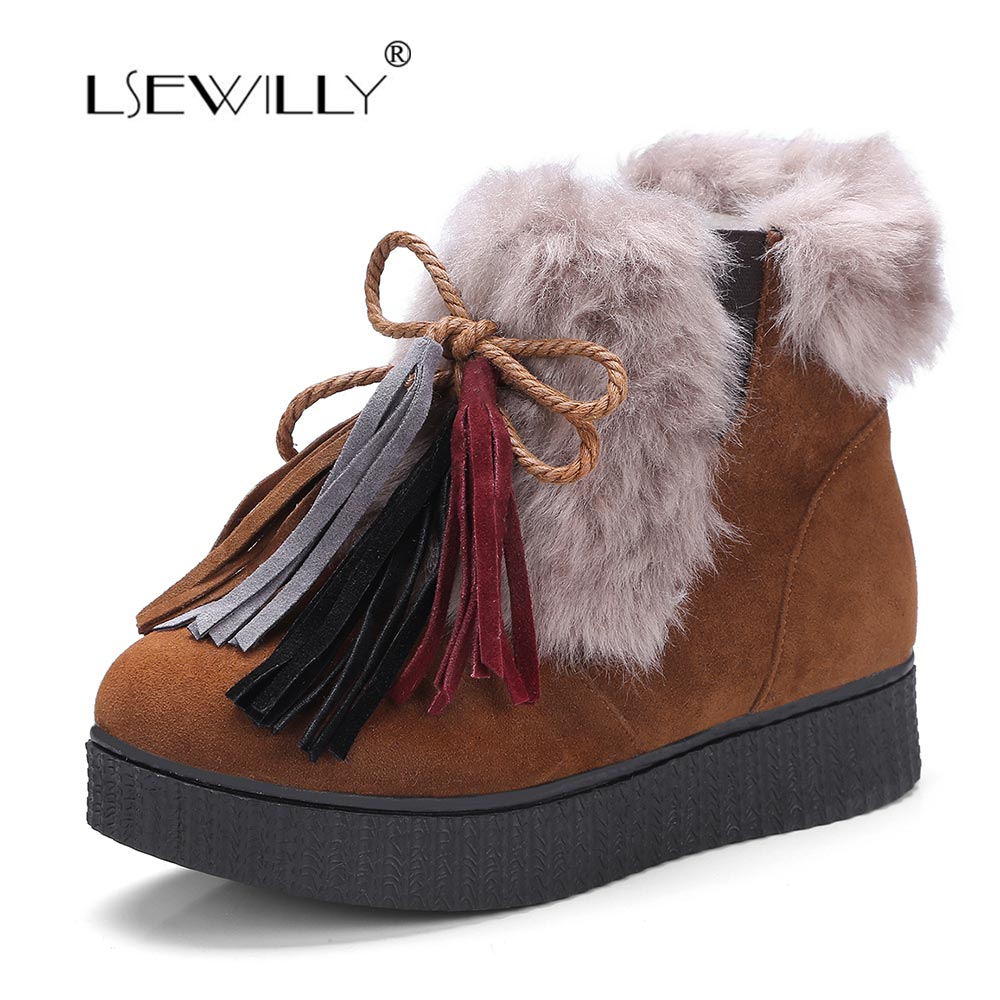Lsewilly Women Ankle Boots Warm Fur Winter Shoes Women Snow Boots Round Toe Tassel Rubber Soles Lace Up Women Shoes Boots MY045 round toe fur women snow boots lace up short booties fashion flats korea stylish winter warm shoes ankle boots luxury brand shoe