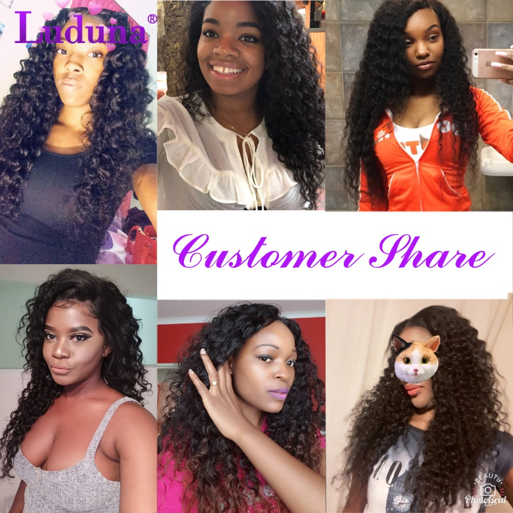 Luduna 3 Bundle Deals Brazilian Water Wave Bundles Mixed 8-30 Human Hair Bundles Natural Color Remy Hair Weaving Extensions