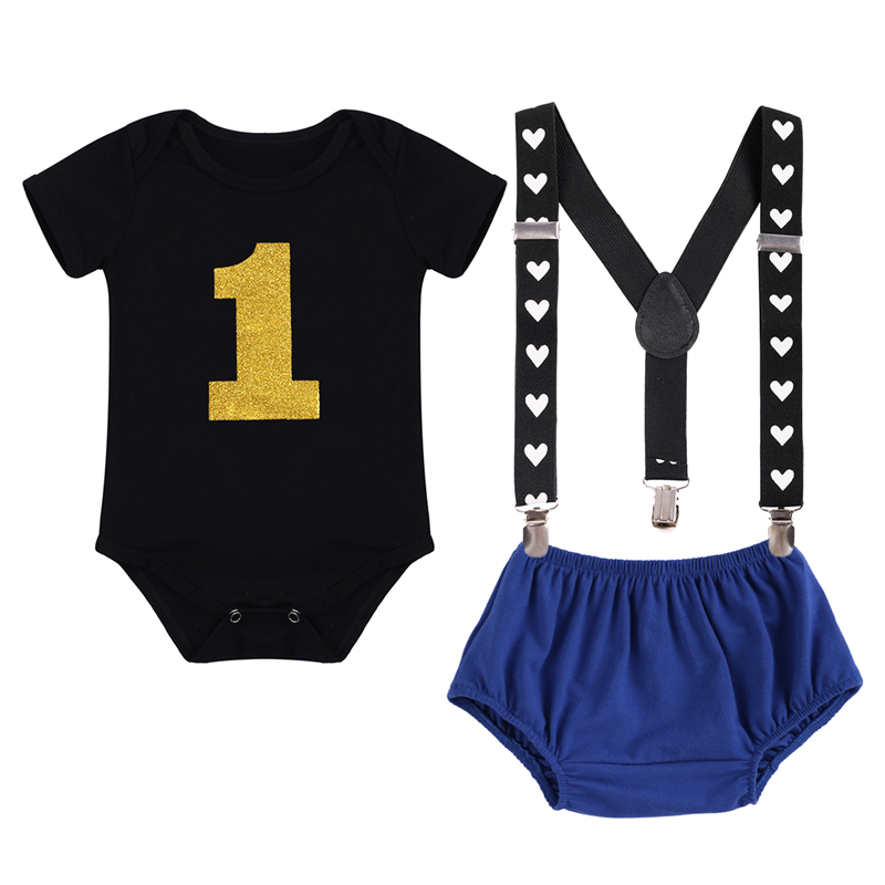 Cute Baby Clothes for Birthday Cake Smash Outfit Baby 3pcs Set Suspender Boy Clothes for Photo Shoot Girl Baby Birthday Clothes