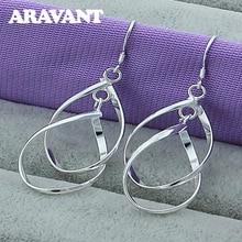 hot deal buy new fashion 925 silver jewelry double twist earrings for women wedding fashion jewelry