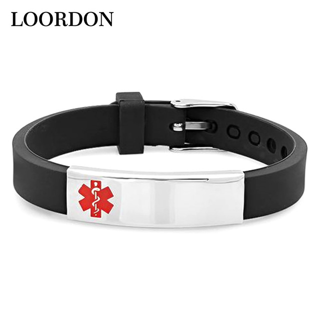 Loordon Stainless Steel Medical Alert Id Bracelet Bangle Black Pink Color Available With Free Gift Bag