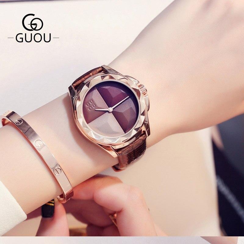 Для женщин Часы кожи кварцевые женские часы Водонепроницаемый модные Повседневное GUOU Новый Дизайн платье часы Для женщин Наручные Часы Montre...