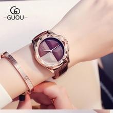 GUOU jauns dizaina kleita pulkstenis sievietēm īstas ādas pulksteņu kvarca pulkstenis ūdensizturīgs modes gadījuma pulkstenis sieviešu rokas pulksteņi