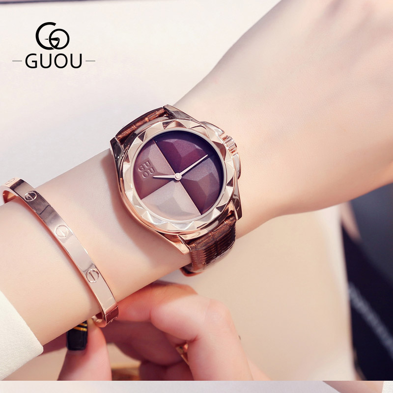 Women Watches Leather Quartz Ladies Watch Waterproof Fashion Casual GUOU New Design Dress Clock Women Wristwatches Montre Femme