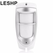 LESHP IP45 Waterproof Pet Immunity Outdoor Digital Motion Dual PIR Detector 90 degree Dual Optical Filtering Sensor System White