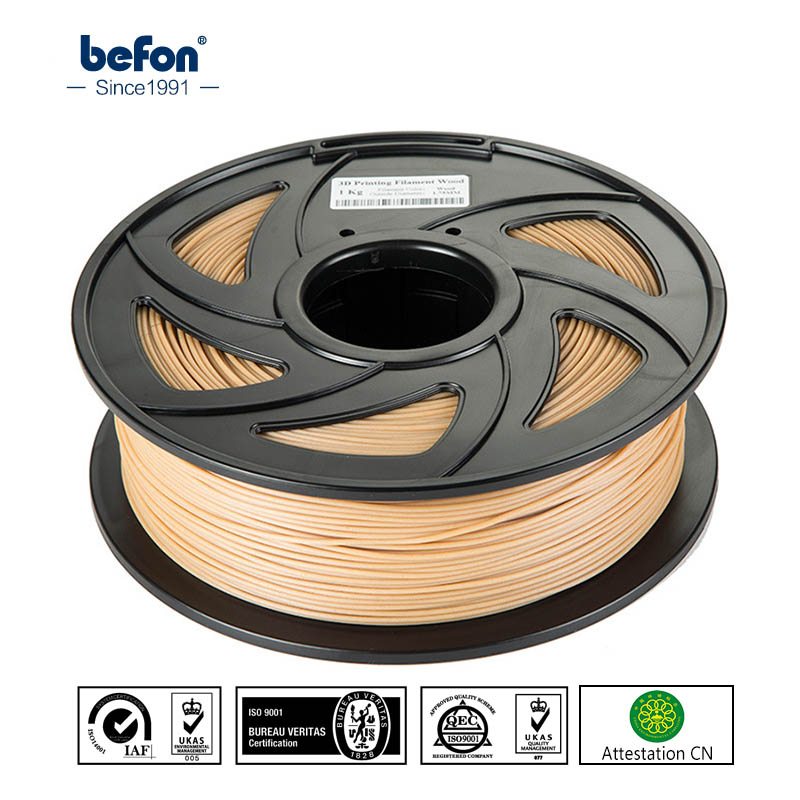 befon Wood PLA 3D Printer Filament Black White 3D Printing Material 1.75mm 1.75 1KG 1 KG for MakerBot eco-friendly eco friendly 38mm 1 5 wide 1 35mm thick 100