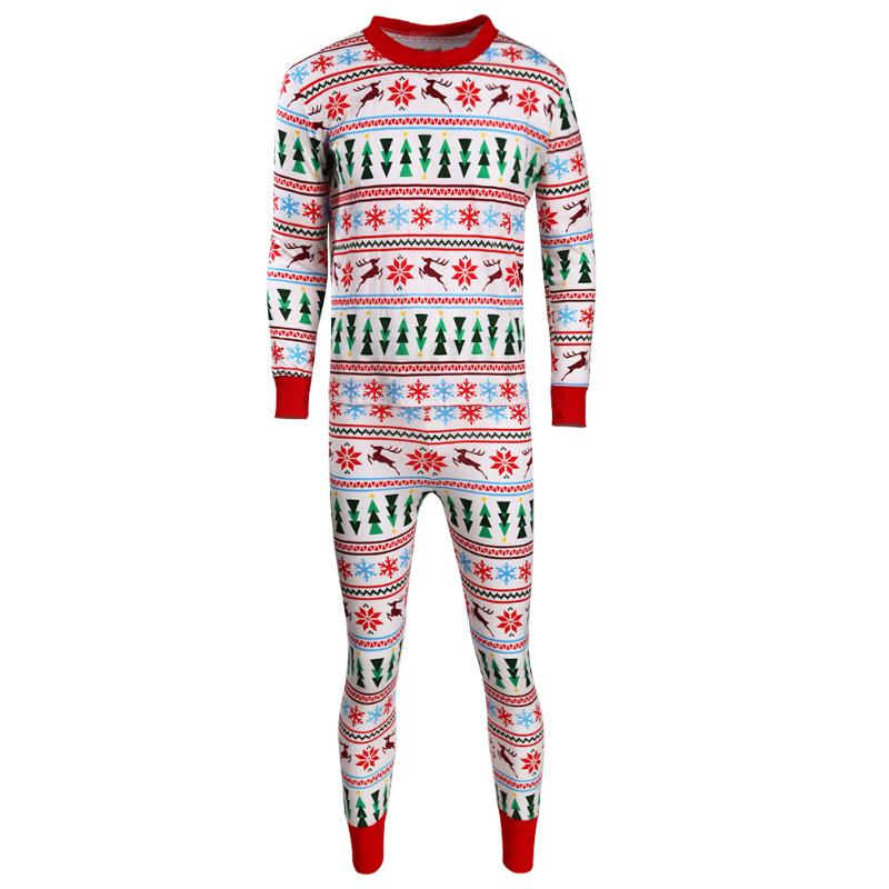 2pcs/set Christmas Family Matching Clothing Father Dad Home Pajamas Set Floral Printed Dad Long Sleeve T-shirt+Pants Clothes Set